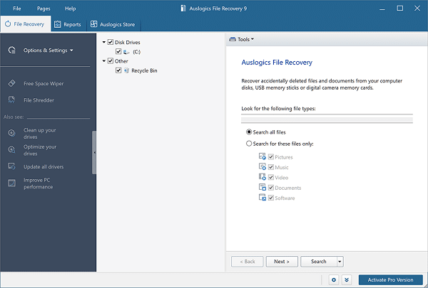 Auslogics File Recovery Pro